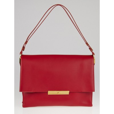 Celine Bright Red Palmelato Calfskin Leather Blade Bag