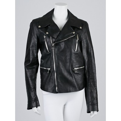 Gucci Black Leather Motorcycle Jacket Size 14/48