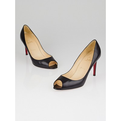 Christian Louboutin Black Leather You You 85 Peep Toe Pumps Size 10.5/41