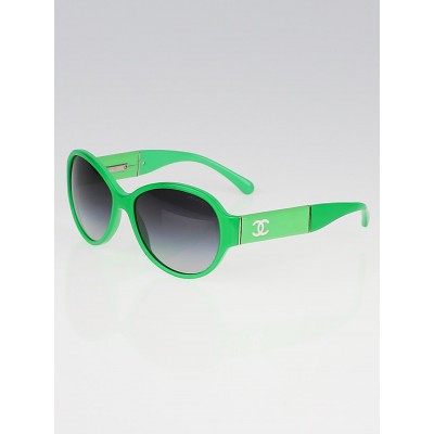 Chanel Green Plastic Frame Black Tint CC Sunglasses-1344