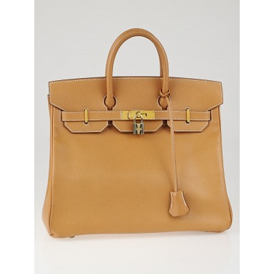 Hermes 32cm Naturelle Courchevel Leather Gold Plated HAC Birkin Bag