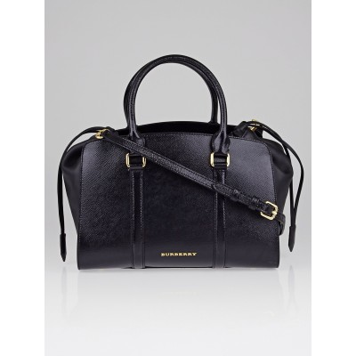 Burberry Black Patent Leather Medium Dinton Tote Bag