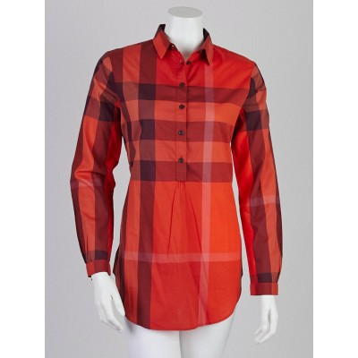 Burberry Brit Orange Red Check Cotton Tunic Shirt Size XS