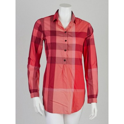 Burberry Brit Pink Check Cotton Tunic Shirt Size XS