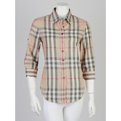Burberry London Classic Check Cotton Button Down Shirt Size M
