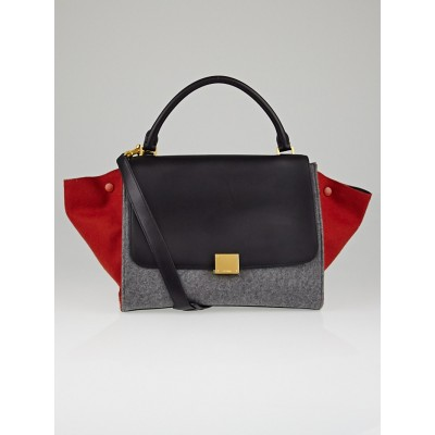 Celine Brick Tricolor Wool/Leather Small Trapeze Bag