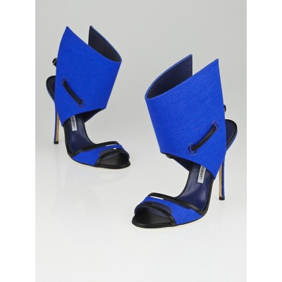 Manolo Blahnik Cobalt Canvas Suntaxa Ankle Wrap Sandals Size 7.5/38