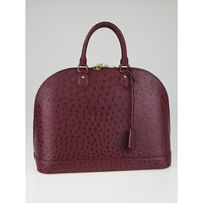 Louis Vuitton Prune Ostrich Leather Alma GM Bag