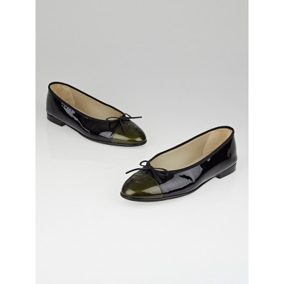 Chanel Black/Khaki Patent Leather CC Cap Toe Ballet Flats Size 10.5/41