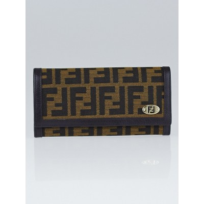 Fendi Tobacco Zucca Canvas Long Flap Wallet