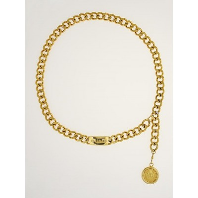 Chanel Goldtone Chain CC Medallion and ID Chain Belt