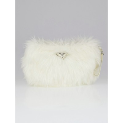 Prada White Faux Fur Wristlet Clutch Bag 1N1422