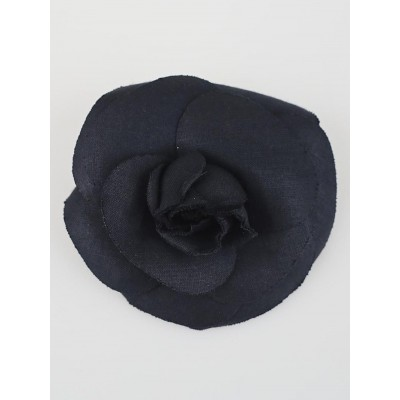 Chanel Blue Canvas Camellia Flower Brooch
