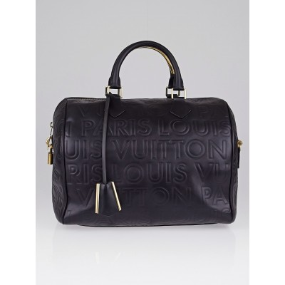 Louis Vuitton Limited Edition Black Monogram Paris Embossed Leather Speedy Cube 30 Bag w/o Strap