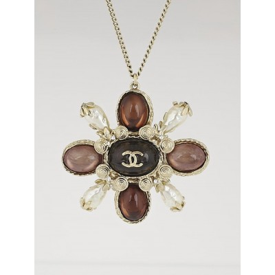Chanel Brown Gripoix Poured Glass and Glass Pearl CC Pendant Necklace