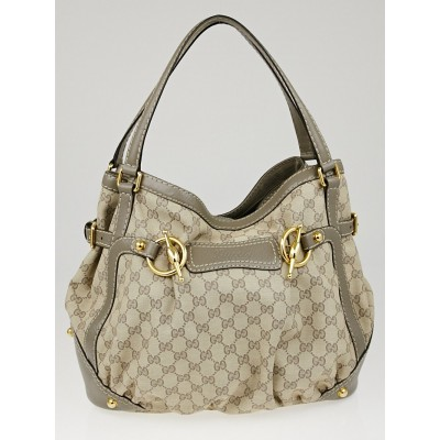 Gucci Beige/Grey GG Canvas Horsebit Jockey Medium Tote Bag