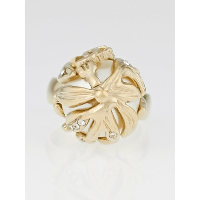 Chanel Brush Goldtone and Faux Pearl Ring Size 6