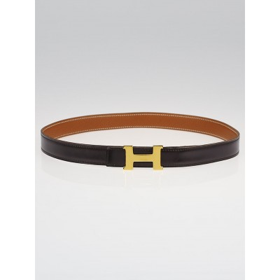 Hermes 18mm Chocolate Box / Gold Togo Leather Gold Plated Constance H Belt Size 75