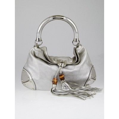 Gucci Metallic Silver Leather Medium Indy Babouska Top Handle Bag