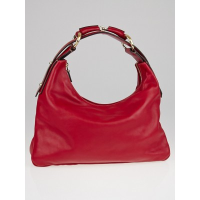 Gucci Red Calfskin Leather Horsebit Chain Medium Hobo Bag