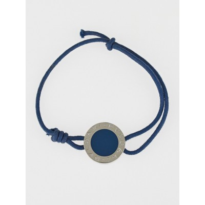 Bvlgari Blue Cotton Cord Sterling Silver Signature Disc Adjustable Cord Bracelet