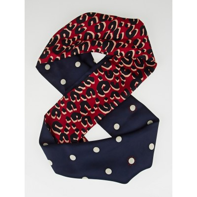 Louis Vuitton Navy Blue Leopard Silk Snood Infinity Scarf