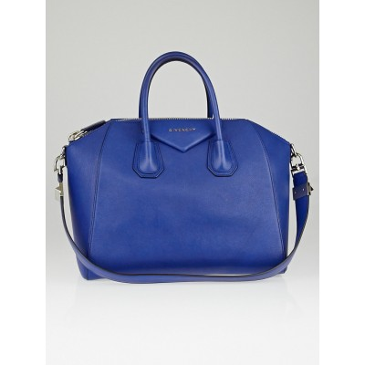 Givenchy Moroccan Blue Sugar Goatskin Leather Medium Antigona Bag