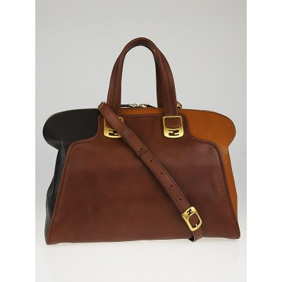 Fendi Brown Leather Chameleon Large Tote Bag 8BL110