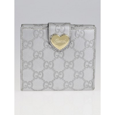 Gucci Silver Guccissima Leather Engraved Heart Compact French Wallet