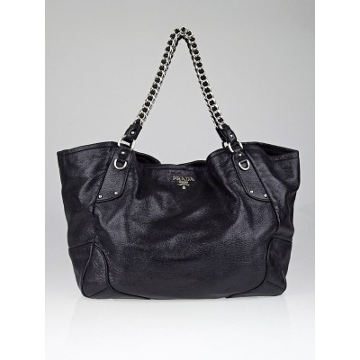 Prada Black Cervo Luxe Leather Chain Strap Tote Bag BR3798