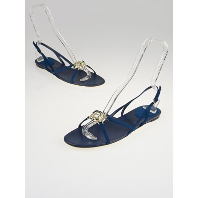 Gucci Blue Leather Britt Open Toe Sandals Size 9/39.5