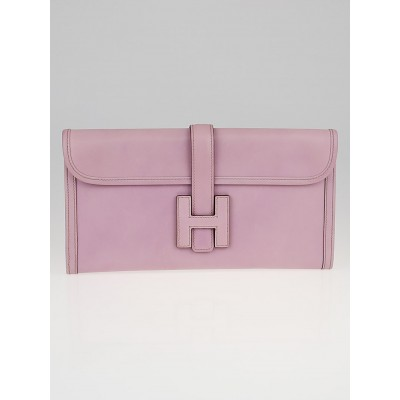 Hermes Rose Dragee Swift Leather Jige Elan Clutch Bag