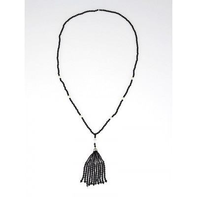 Tiffany & Co. Pearl and Black Onyx Ziegfeld Tassel Necklace