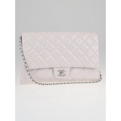 Chanel Light Purple Quilted Patent Leather Chain Clutch Bag