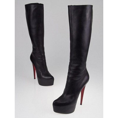 Christian Louboutin Black Leather Daf 160 Knee High Boots Size 9/39.5