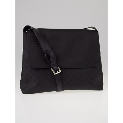 Gucci Black GG Canvas Messenger Bag