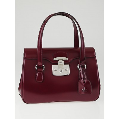 Gucci Purple Smooth Leather Lady Lock Small Satchel Bag