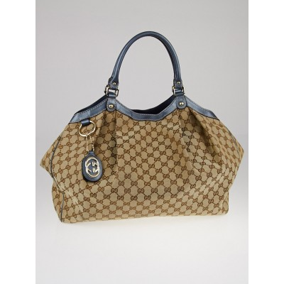 Gucci Beige/ Blue GG Canvas Large Sukey Tote Bag