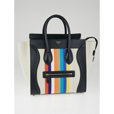 Celine Multicolor Striped Canvas and Calfskin Mini Luggage Tote