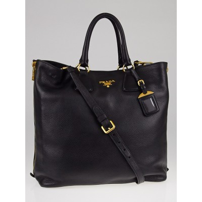 Prada Black Vitello Daino Leather Large Shopping Tote Bag BN2419