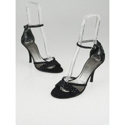 Chanel Black Satin and Crystal Open Top Sandals Size 7.5/38