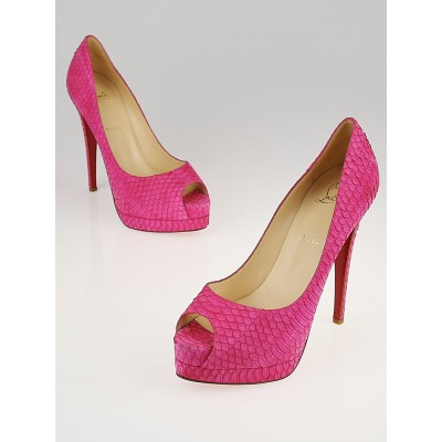 Christian Louboutin Pink Suede Watersnake Altadama 140 Peep-Toe Pumps Size 9.5/40