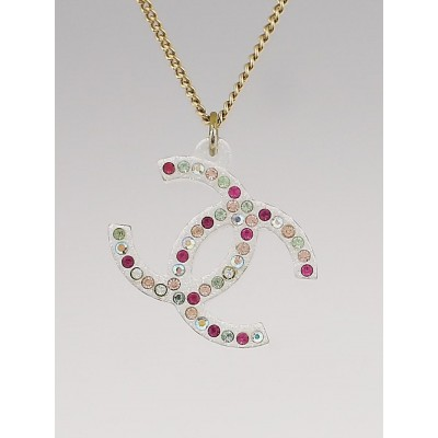 Chanel Goldtone Chain and Resin Crystal CC Pendant Necklace