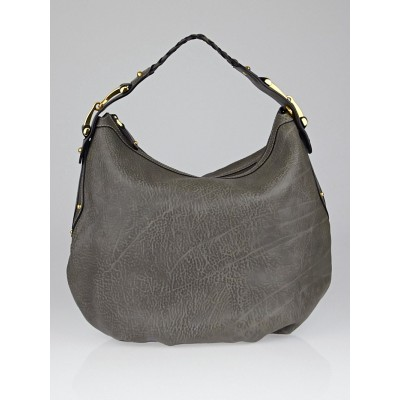 Gucci Grey Pebbled Distressed Leather Medium Pelham Hobo Bag