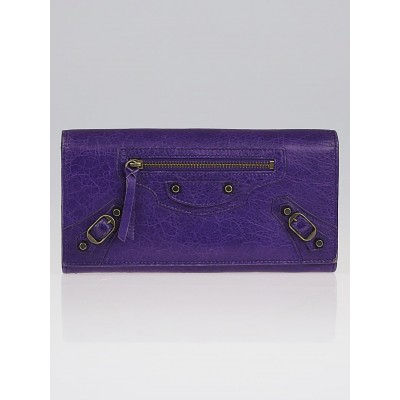 Balenciaga Ultraviolet Lambskin Leather Bi-Fold Long Continental Wallet