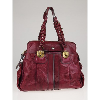 Chloe Violet Calfskin Leather Heloise Large Satchel Bag