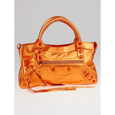 Balenciaga Orange Metallic Chevre Leather Motorcycle First Bag