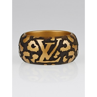 Louis Vuitton Gold Lacquer Wood Leomonogram Cuff Bracelet