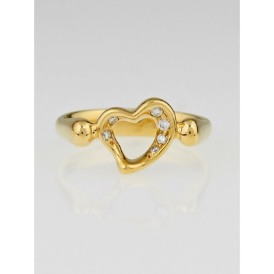 Tiffany & Co. 18K Gold and Diamond Elsa Peretti Open Heart Ring Size 4.5