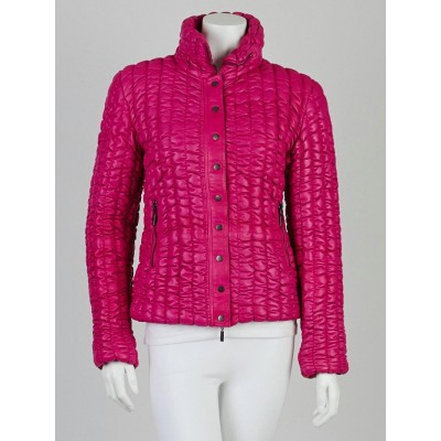 Moncler Fuchsia Leather Down Puffer Jacket Size 2/M